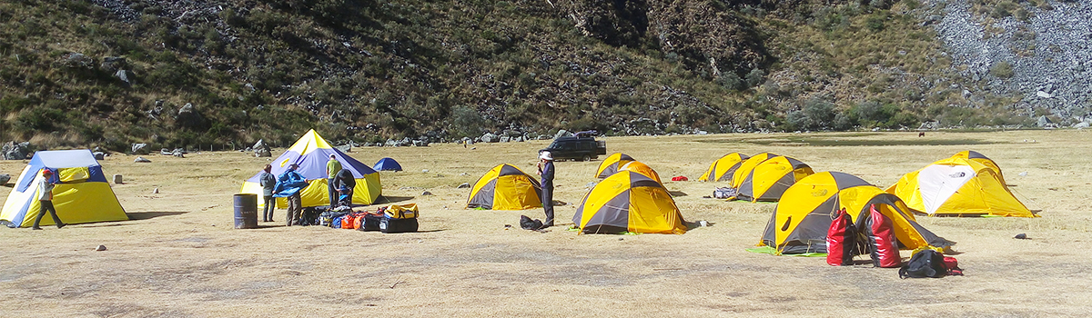 Peru Expeditions Tours: The Vaude mountain tents & The North Face VE 25 in Huaraz, Peru