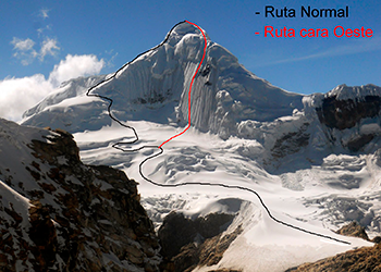 Peru: Expedition Nevado Tocllaraju (6034 m), north west ridge normal route or direct west face 60° - 75° degrees